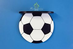 Lovely wooden shelves hangers and decors by Robotnia on Etsy Boys Soccer Bedroom, Baby Boy Soccer, Soccer Room, Soccer Ball, Boys Bedroom Wallpaper, Wooden Pallet Projects, Kid Beds, Kids Room, Nursery