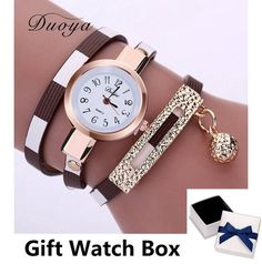 Duoya 2016 New Fashion Watches Women Gold Band Stripe Style Luxury Women Bracelet Watch Female Leather Dress Quartz Wristwatch