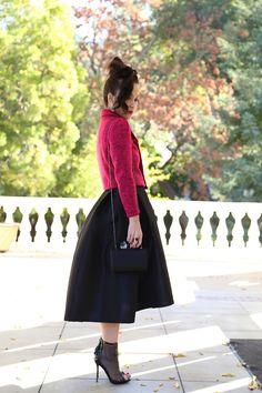 KTRcollection Black Midi Skirt with High Low hemline