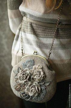 """Купить Валяная сумочка """"Серые росы """" - цветочный, серый, сумка, сумка женская"""