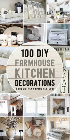This collection of DIY farmhouse kitchen decor ideas will give you some inspiration for how to bring country charm into your kitchen on a budget. From wood trays and rustic signs, there are over a hundred different DIY farmhouse decor ideas here. Farmhouse Kitchen Diy, Diy Kitchen Decor, Country Farmhouse Decor, Kitchen On A Budget, Farmhouse Furniture, Farmhouse Design, Rustic Kitchen, Country Charm, Diy Home Decor