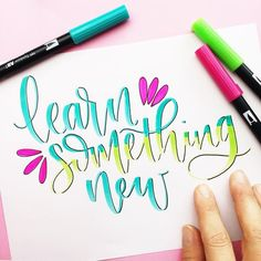 What are you going to learn this year? For me- I wanna learn more watercolor techniques & learn how to embroider! Also, I wanna learn how… Hand Lettering Art, Watercolor Lettering, Doodle Lettering, Creative Lettering, Lettering Styles, Brush Lettering, Watercolor Pencils, Calligraphy Handwriting, Calligraphy Quotes