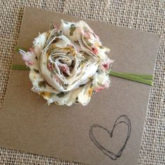 Natural Color Shabby Flower Headband Headband Baby by HipAndHail, $3.50