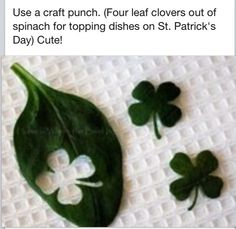 Use a craft punch. (Four leaf clovers out of spinach for topping dishes on St. Patrick's Day) Use a craft punch. (Four leaf clovers out of spinach for topping dishes… St Paddys Day, St Patricks Day, St Pattys, Saint Patricks, Holiday Treats, Holiday Fun, Festive, Holiday Pics, St Patrick's Day Menu