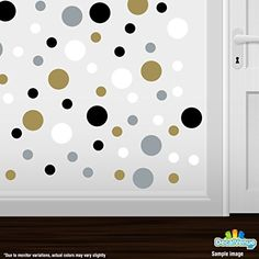 Set of 60 Circles Polka Dots Vinyl Wall Graphic Decals Stickers Gold  Silver  Black  White ** Check this awesome product by going to the link at the image. Note: It's an affiliate link to Amazon