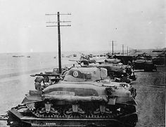 British 8th Army M4 Sherman Tanks Lined Up on Trailers in Western Desert 1942