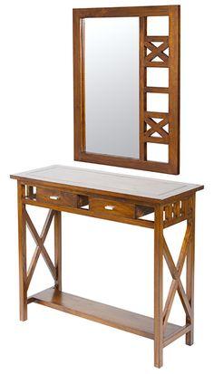 original recibidor rustico de acacia en color nogal con espejo