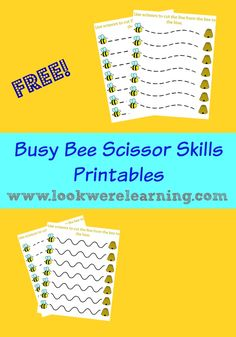 Free Busy Bee Scissor Skills Worksheets from www.lookwerelearning.com - Perfect for spring!