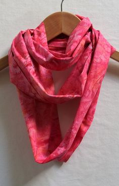 Hummingbird Infinity Scarf 6 Wide 68 Loop Coral by BatikStudio
