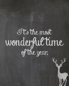 """Chalkboard Style Print- """"It's the most wonderful time of the year"""" Christmas and Holiday print"""