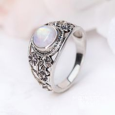 Genuine & iridescent Rainbow Moonstone 925 Sterling Silver floral signet ring with a romantic flair radiates various colors when kissed by sun rays________