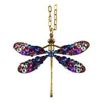 Anne Koplik Large Dragonfly Necklace, Gold Plated Pendant with Swarovski Crystal