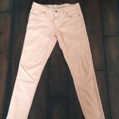 Peach denim by Velvet Heart soft nwot The pictures describe these jeans pretty well. They're 98% cotton 2% spandex and the color is a beautiful peach. I never wore them bc they were too big for me:(. Give them a good home. velvet heart Jeans