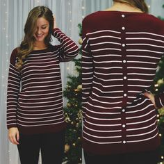 Burgundy Button Back Striped Top – UOIOnline.com: Women's Clothing Boutique