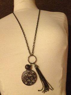 Vintage Pewter Long Flapper Necklace With 3 Charm Pendants