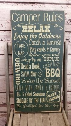 Camping Sign, camping Decor, Camping Rules, Glamping, camping, cabin, cottage…