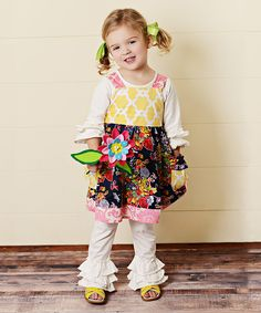 Another great find on #zulily! Oopsie Daisy Navy Floral Quatrefoil Dress & Ruffle Leggings - Toddler & Girls by Oopsie Daisy #zulilyfinds