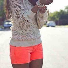 Love the splash of color with the shorts!
