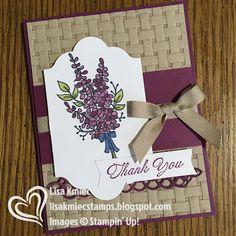 Stampin' with Lisa: Stamp 'n Hop Blog Hop: Sale-A-Bration Stampin' Up! Lots of Lavender Basket Weave embossing folder