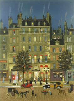 ۩۩ Painting the Town ۩۩ city, town, village house art - Michel Delacroix