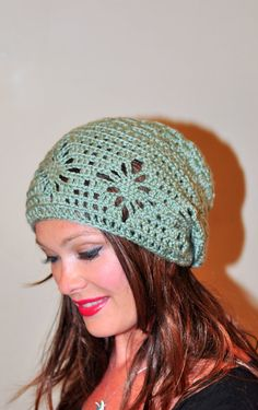 Slouchy Beanie Women Hat Slouchy Hat Summer Hat Sage Green Naturel Wood Earth Neutral Crochet Mother's Day Gift