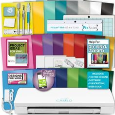 Silhouette Cameo 3 Machine 25 Sheets Oracal Vinyl Starter Bundle Paper Tools, None
