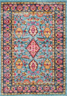 Geometric greatness in this Rugs USA Tunis SH02 Forrest Allover Floral Herati Rug!