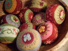 Hand embroidered Christmas ornaments....simple beauty