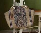 Recycled Burlap Coffee Sack Market Tote- Costa Rica Seal. $40.00, via Etsy.