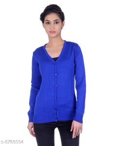 Checkout this latest Sweaters Product Name: *Ogarti woollen full sleeve V neck Royal Blue Women's  Cardigan* Fabric: Acrylic Pattern: Solid Multipack: 1 Sizes:  M (Bust Size: 17 in, Length Size: 22 in, Waist Size: 16 in, Hip Size: 17 in, Shoulder Size: 13 in)  L (Bust Size: 18 in, Length Size: 23 in, Waist Size: 17 in, Hip Size: 18 in, Shoulder Size: 13 in)  XL (Bust Size: 19 in, Length Size: 24 in, Waist Size: 18 in, Hip Size: 19 in, Shoulder Size: 14 in)  Easy Returns Available In Case Of Any Issue   Catalog Rating: ★3.9 (358)  Catalog Name: Pretty Glamorous Women Sweaters CatalogID_1497601 C79-SC1026 Code: 394-8766034-9911