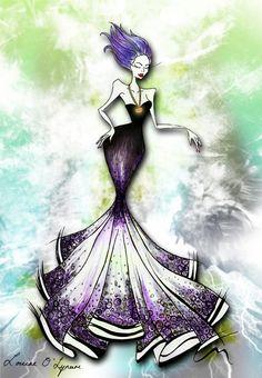 High Quality fashion illustration of Disney's Ursula by LouiseOLynam