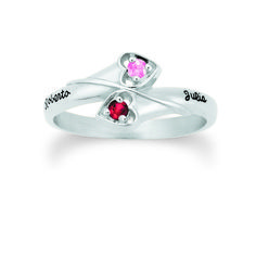 Personalized Winding Hearts Gold Birthstone Ring - with Simulated Stones