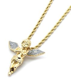 """Mens Gold Tone Silver Stardust Long Wings Angel Pendant Hip-hop with 4mm 24"""" Rope Chain -- Click image for more details."""
