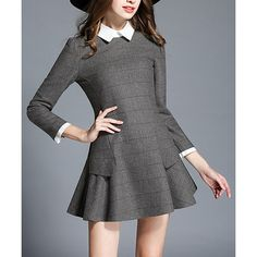 SSXR Gray Stripe Peter Pan Collar A-Line Dress ($55) ❤ liked on Polyvore featuring dresses