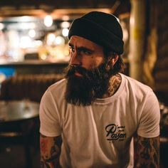 Ricki Hall - full thick dark beard and mustache beards bearded man men mens' style tattoos tattooed bearding #beardsforever
