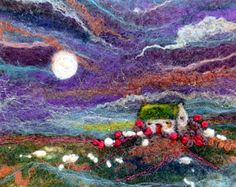 The Shepherd's Bothy by Moonlight - Original Mini Felt Picture/Wall Hanging - Hebridean Shepherd's Bothy, Moon and Sheep