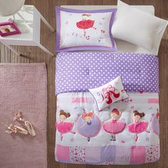Dance your way into the perfect bedroom with the Twirling Tutu Comforter Set by Mi Zone Kids. This fun collection features ballerinas dancing across the center of the comforter in shades of purple and pink. Outline quilting makes its way around several ballerinas for extra dimension on the top of bed. Sham(s) with a ballerina and a decorative pillow with ballet shoes feature plush fabric for a cozy and fun way to complete this set.