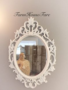 Decorative Wall Mirrors For Oval Mirror Home Decor Bright White Ornate Shabby Chic Baroque Vanity