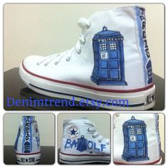 "Oh shit I want the badwolf on one side!!!! - ""Doctor Who Shoes - Tardis Shoes - Converse on Etsy, $79.00"""