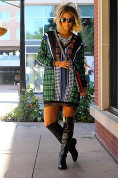 Multi Mix Prints Mini Shift Dress by What Courtney Wore What Courtney Wore, Courtney Kerr, Autumn Fashion Women Fall Outfits, Autumn Winter Fashion, Fashion Outfits, Fashion Ideas, Style Fashion, Plaid Outfits, Vogue Fashion