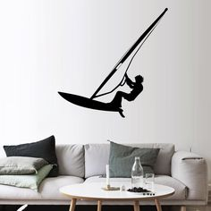 Surfing Wall Stickers Boys Teen Room Windsurfing Lover Home Decor Wallpaper Poster Water Challenge Sport Player Wall Applique
