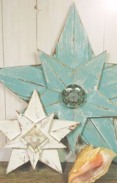 wooden star with glass center for new bathroom