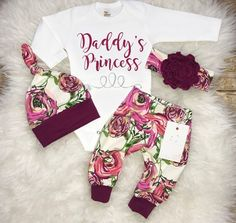 Baby Girl Coming Home Outfit Newborn Girl Outfit Daddy's Princess Outfit Baby Shower Gift Magenta Floral Outfit Baby Girl Clothes by LLPreciousCreations on Etsy #babygirloutfits https://presentbaby.com