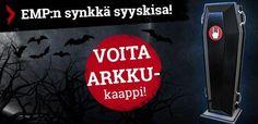 """Onko tässä syksyn """"synkin"""" kilpailu? Syksyllä on aina tapana hieman synkistellä, joten nyt on tarjolla fiilikseen sopiva kilpailu - osallistu EMP.fi-kisaan (päättymispäivä 5.11.2014) ja voita hulppea EMP Rockhand -arkkukaappi: http://www.emp.fi/com_2238_participate/?campaign=emp/fi/sm/pin/promotion/desk/18092014-voita-emp-arkku"""