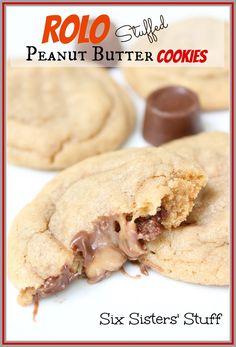 Rolo Stuffed Peanut Butter Cookies | Six Sisters' Stuff