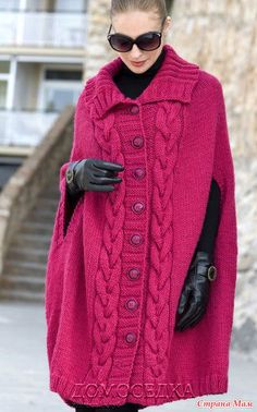 ". Casaco poncho Knit: Diary of ""unidos on-line"" - Mãe País Chunky Knit Cardigan, Knitted Cape, Knitted Poncho, Poncho Sweater, Knitwear Fashion, Knit Fashion, Coat Patterns, Knitting Patterns, Google Chrome"