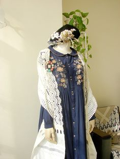 Use pic as inspiration. Make eyelet triangular shawl with scalloped edges. Mori girl outfit