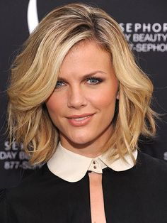 Brooklyn Decker tousles her layered cut into a bed-head style via @stylelist