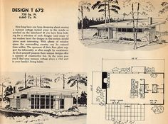 Pretty cool, simple little plan 1961 floor plan for a small modern summer cabin… Vintage House Plans, Modern House Plans, Modern Houses, Summer Cabins, Asian Home Decor, Cabins And Cottages, Googie, Cabin Plans, Building Plans