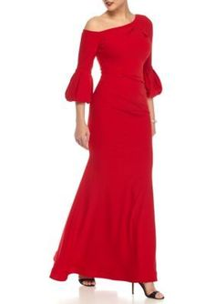 Betsy & Adam Women's One Shoulder Puff Sleeve Gown -  - No Size